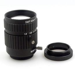 Wholesale Cs Camera - 5.0MP 50mm Fixed Focus Manual Zoom Lens CS Mount CCTV Lens for CCTV Camera Industrial Microscope Manual Iris Lens