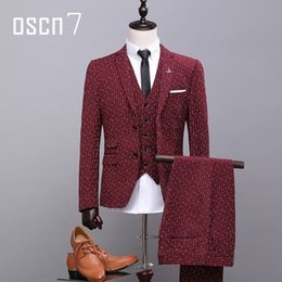 Wholesale Men Red Notch Lapel Vest - Wholesale- OSCN7 Wine Red Striped Printed Suit Men Slim Fit Wedding Party Leisure Notch Lapel Gentleman Man Suit Latest (blazer+vest+pants)