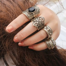 Wholesale Dropshipping Ring - Cat's eye turquoise rings women middle eastern bohemian rings Geometric shapes rings 4pcs set Lady famale Gift fashion jewelry dropshipping