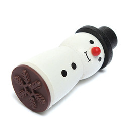 Wholesale Cute Wholesale Snowmen Decor - Wholesale- Cute Snowman Shape Snowflake Wooden Rubber Stamp Cute XMAS Gift Decor Scrapbooking Card Making Stamper for Children DIY Craft