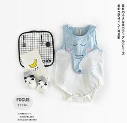 Wholesale Baby Designers Clothing Brand - 2017 summer brand designer baby girls Rompers infant gilrls cute elephant nose tail jumpsuits soft cotton vest infant clothing for 66-90cm