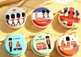 Wholesale Earphones Kawaii - Wholesale- Kawaii Back London 7*3CM Mini Iron Tin Coin Purse Wallet Case ; Earphone Wire Holder Storage & Key BAG Holder Case Wallet Pouch