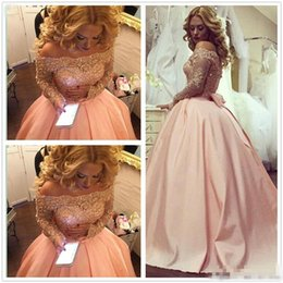 Wholesale Cheap Bow Chiffon Short Prom - 2017 Saudi Arabic Dubai Style Long Sleeves Blush Pink Prom Dresses A Line Off the Shoulder Beaded Appliques Long Evening Party Gowns Cheap