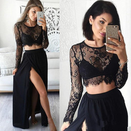 Wholesale Black Chiffon Top Long Sleeve - Two Pieces Long Sleeve Lace Prom Dress 2 Piece Party Gowns Side Split maxi dress Black Lace Chiffon evening dresses Crop Top Formal