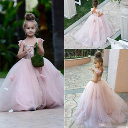 crianças vestido de baile rosa Desconto Blush Rosa Flor Meninas Vestidos Crianças Apliques de Cintas de Espaguete vestido de Baile Ruffles Tule Pageant Vestidos Longos Vestidos Da Menina para Casamentos