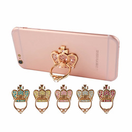 Wholesale Diamond Mobile Phone Stand - For iphone 7 6s 6 Samsung s7 S6 Luxury Diamonds Metal Mobile Phone Ring Holder Universal Finger Grip Phone Stand