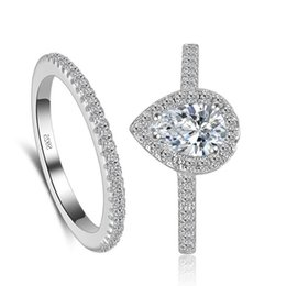 Wholesale Big 925 Silver Set - Big Promotion!!! Real 925 Sterling Silver Rings for Women Hearts and Arrows 2 Ct CZ Diamond Brand Two Engagement Ring