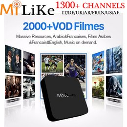 Wholesale Iptv Receiver Box Arabic Channels - IPTV Streaming Box Android 5.1 MXQ-4K Wifi 1G 8G Include 1300+ Italy Portugal French Receiver Europe Arabic Sky QHDTV IPTV Channels Package