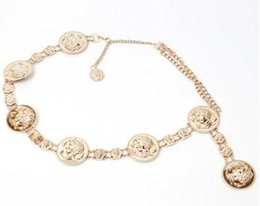 Wholesale Gold Dresses United States - Europe and the United States big lady head decoration metal waist chain women loose belt gold girdle dress crony
