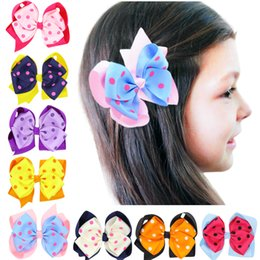 hair design multi Coupons - Sunshinehat New Fashion Handmade Boutique Multi - color geometric design Hair Bow Alligator Clip Kids Girls Hair Accessories WF069