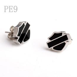 Wholesale Black White Enamel Earrings - Free Shipping! Punk hot sale Silver White Motor Club Earrings Black Soft Enamel Biker Earrings Jewelry