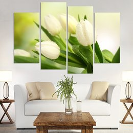 Wholesale Tulips Wall Painting - 4 Pcs Hot Sell Modern Wall Painting Charming White Tulip Flowers Modern Oil Painting on Canvas Pictures For Living Room(No Frame)