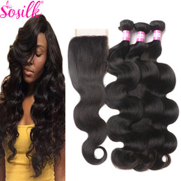 Wholesale Wholesale Virgin Bodywave - Cheap Double Weft Indian Remy Hair Bundles With Silk Closure Indian Virgin Hair And Closure Bodywave So Silk Indian Human Hair Extension