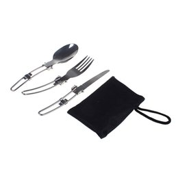 Wholesale Mini Forks Stainless Steel - Outdoor Potable Camping Picnic Mini Tableware Stainless Steel Folding Knief Fork And Spoon Travel Kit Folding Tableware
