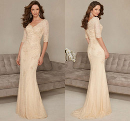 Wholesale Mothers Bride Cocktail Dresses - Glamorous Long Column Mother Bride Dresses Lace Beaded Floor Length Party Cocktail Gowns Wedding Guest Dress V Neck Custom Quality