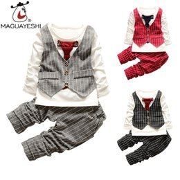 Wholesale bow tie t shirt - Wholesale- Baby Clothing Set Gentleman Bow Tie Wedding Children Clothes Set Long Sleeve T-Shirt+Striped Pants Outfits Suits Boys Clothing