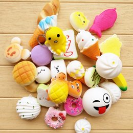 Wholesale Kawaii Mix - Kawaii Squishies Bun Toast Donut Bread for cell phone Bag Charm Straps Wholesale mixed Rare Squishy slow rising lanyard scented