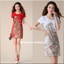 Wholesale Qipao Phoenix - Summer new women's national wind Phoenix embroidery wave Qipao large size in the long section of Slim short-sleeved fashion dress