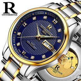 Wholesale Blue Gem Stones - Fully automatic Mechanical watch Business Luminous Hollow waterproof Steel strip Watch