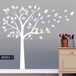 Wholesale Vinyl Stands - Owl Standing Huge Large Tree Wall Sticker Baby Nursery Bedroom Wall Decals Art Decor Owl And Birds Tree Branches Decals Size 197 x 222 cm