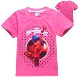 Wholesale Organic Tee Shirts - Kids Girls Miraculous Ladybug Cosplay T-shirts Child Casual Tee Tops