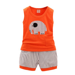 Wholesale Summer Boys Pcs Set - Wholesale- Hot Summer Kid Cotton Cartoon Baby Boys Girls Vest+Stripe Shorts 2 Pcs Children Clothing Set 1-5Y