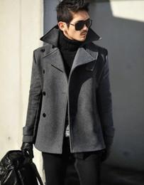 Wholesale Mens Wool Military Coats - Grey 2017 autumn winter wool coat slim medium-long mens wool coats single breasted casual woolen mens wool military coat 3XL