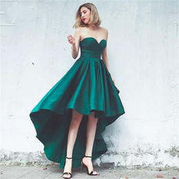 Wholesale Lace Front Corset - 2017 Simple Green Short Front Long Back Prom Dresses Prom Sweetheart lace up corset bodice Prom Gowns