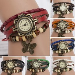Wholesale White Gold Butterfly Bracelet - Fashion Retro Butterfly Pendant Leather Weave Lady Bracelet Quartz Wrist Watch