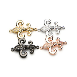 Wholesale Bracelet Anchor Bead Connector - Micro Pave CZ Cubic Zirconia Fleur De Lis Charm Metal for Jewelry Bracelet DIY Making Spacer Bead Zirconia Anchor Bead 18*24mm