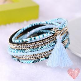 Wholesale Multi Layer Bracelet Crystals - Fashion Multi-layer Leather Bracelet Handmade Woven Tassel Bracelet Brazil Style Beach Magnetic Buckle Bracelet can Mix Styles