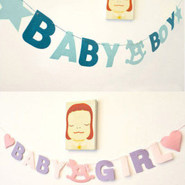 Wholesale Baby Boy Bunting Banner - Wholesale-Baby Shower Girl Boy Letters Birthday Party Banner Bunting Flag Hanging Decor KT0210