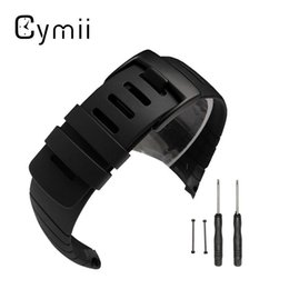 Wholesale Watch Fastener - Wholesale-Cymii Watchband Silicone Wristwatch Watch Bracelet Straps Watches for Bands +Clasp Fastener For SUUNTO CORE Replace Electronic