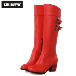 Wholesale Red White Boots - Wholesale-Plus size 30-52 New Autumn winter Women botas Middle heels Zipper Buckle Knee boots for women Fashion White Red Black Brown