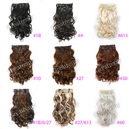 "Wholesale 33 Body Wave - Greatremy 20"" Body Wave Full Head Clip In Hair Extensions Hairpiece Synthetic Colors #1b#4#6#10#16#27#30#33#99J#60#613,#27 613"