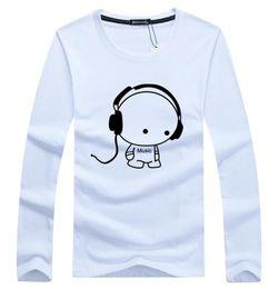 Wholesale Cute Girl Headphones - Men women Unisex Casual Headphones Printing Tshirt blue Long Sleeve Crew Neck cute students girls Cotton Shirt Famous Brand Tees Tops Polos