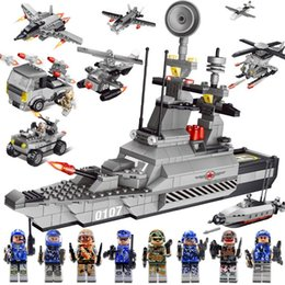 Wholesale Toy Military Vehicles Wholesale - New Military Blocks Fancy Toy Mini Building Block Figures Aircraft Carrier Model Playmobil Toys For Children Assembles Baby Toys Kids Gift
