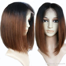 Wholesale Indian Remy Short Wigs - Straight Full Lace Human Hair Wigs Two Tone Remy 130% Density Lace Front Wigs In Stock Short #1b 30 7A Human Hair Full Lace Wigs