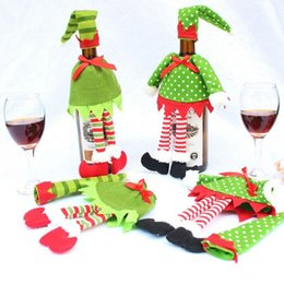 Wholesale Polka Dot Wine - Lovely Stripe Wine Bottle Cover Bags For Christmas Xmas Decorations Polka Dot  stripe Dress + Hat Free S hipping
