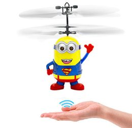 Wholesale Minions Despicable Toy - Chrismas Gifts Movie Character RC Despicable Me Minions Aircraft Induction Helicopter Quadcopter Kids LED Toys Gift Drop Ship
