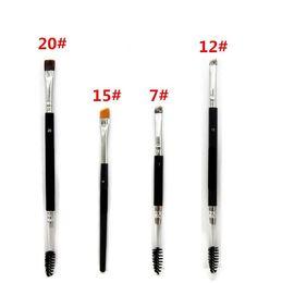 2020 spazzole di trucco di migliore qualità Pennello Duo # 12 # 7 # 15 # 20 Pennelli Trucco con Logo Grande Duo Brow sintetico Kit pennelli per trucco sopracciglio Pinceis Migliore qualità spazzole di trucco di migliore qualità economici