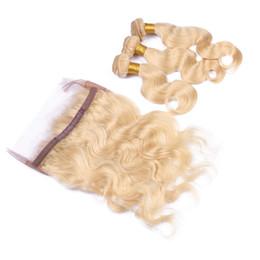 Banda de encaje # 613 rusa rubia 360 frontal con paquetes Ondas de cabello humano de onda de cuerpo con cierre de encaje 360 desde fabricantes