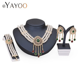 Wholesale Black Costume Jewelry Rings - Necklace Earrings Bracelet Rings Gold Color Simulated Pearl Jewelry Set For Women Beads Collar Sets Costume Fashion Accessories