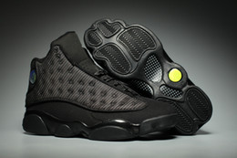 Wholesale high cat shoes - Wholesale NEW 13 XIII OG Black Cat All Black 13s men basketball shoes sports trainers sneakers high quality size 8-13