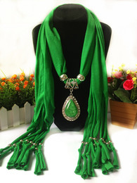 Wholesale Wholesale Polyester Resin - Drops of Water Resin Design Pendant Scarf Jewelry Women Necklace Scarf Fashion Style Beads Tassel Soft Scarf Alloy Accessories T01