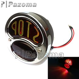 Wholesale Vintage Stop Light - PAZOMA Free Shipping Motorcycle Taillight For Bobber Chopper Old School Lucas Stop Mount Vintage Tail Light Chrome and Black Hot
