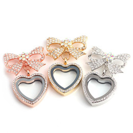 Wholesale Diamond Ruby Heart Pendant - 2017 Heart Bowknot floating locket with Diamond Crystal pendants charm lockets For DIY Personality retro Necklaces