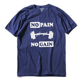 Wholesale Muscle Mens Shirts - 100% cotton no pain no gain print men Tshirt casual o-neck men muscle body building T shirt cool mens Tee shirt