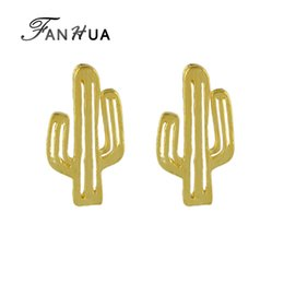 Wholesale Jewelry Cactus - New Style Fashion Cactus Shape Style Gold-Color Silver Color Rosegold Color Fashion Stud Earrings Jewelry for Women