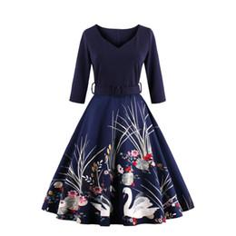 Wholesale Vintage Plus Size Clothing - 2017 Vestidos Vintage Autumn dress Printed 60s Hepburn Casual Dress Rockabilly 4XL plus size women clothing party dress FS1163